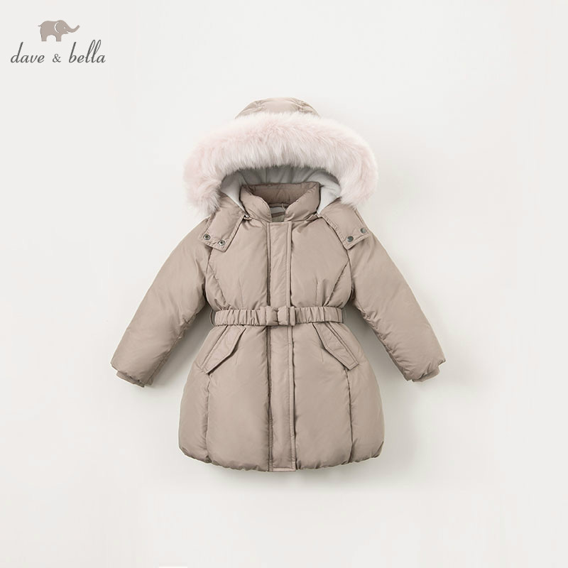 DBK8312 dave bella winter baby girls down jacket children 90 down padded coat kids hooded outerwear