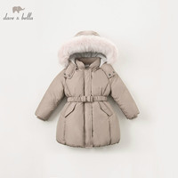 DBK8312 dave bella winter baby girls down jacket children 90% down padded coat kids hooded outerwear with big fur