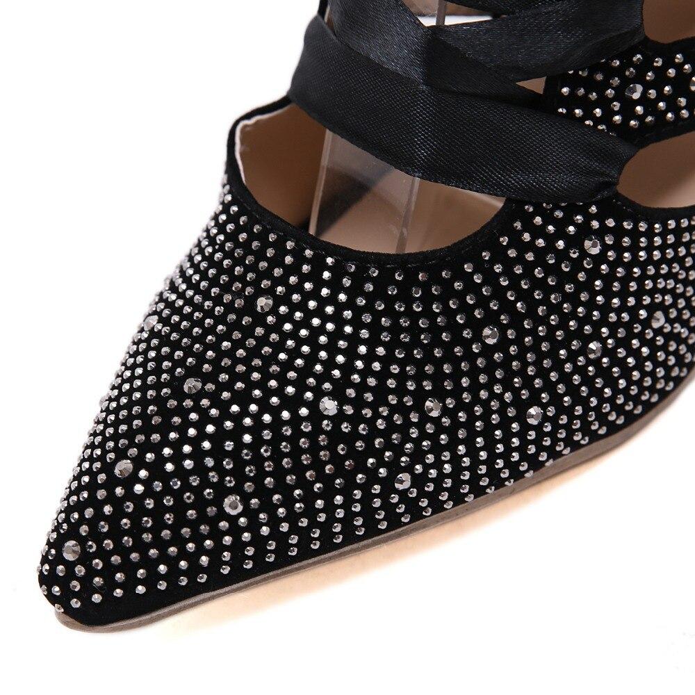 2019 Bande De Stilettos Élégant Femmes Lady Black Bout Parti Pointu Tendance Office Mode Sandales Été Étroite Chaussures Sexy Talons gwSqdd7