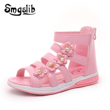 Girls Shoes Sandals Kids Leather Shoes Children Floral Gladiator Sandals Baby Girls Flat Princess Beach Shoes Kids Casual Shoes