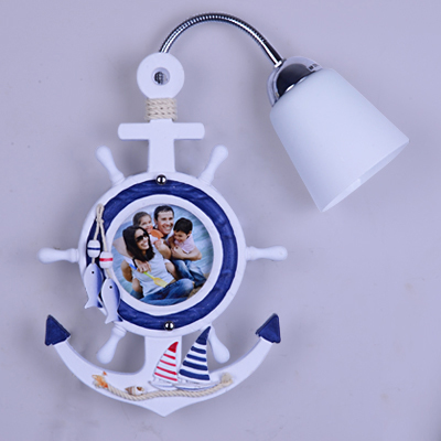 Creative Mediterranean Sea Style Clock Frosted Glass Shade Wall Lamp for Children Room Bedroom Wall Lighting Bedside Wall Lights