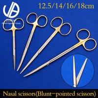 Nasal scissors straight handle round head aureate handle  Rhinoplasty tool 12.5/14/16/18cm Surgical tissue scissors blunt end| |   -