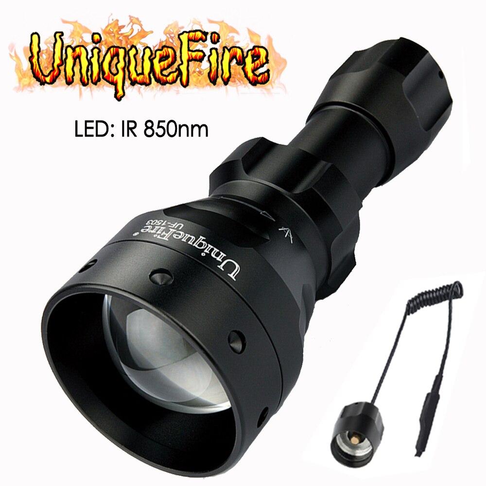 UniqueFire 1503 T50 IR 850nm 3 lampe de poche LED à modes lampe de poche à Vision nocturne lampe de poche infrarouge torche Zoomable + commutateur de queue de Rat à distance