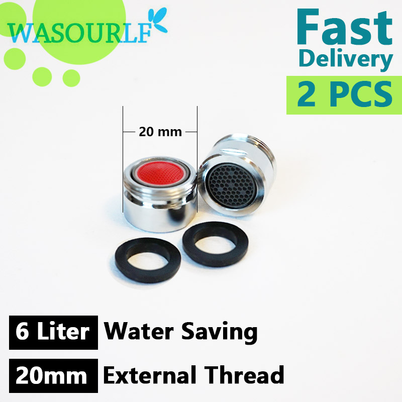 WASOURLF 2 PCS Water Saving Faucet Aerator 6L 20mm Male Thread External Tap Bubble Accessories Bathroon Basin Kitchen Outlet