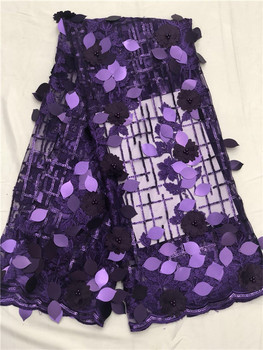 French Lace Fabrics beads sequins High Quality African Net Lace With Soft 3D Flowers Nigeria Tulle Mesh Wedding Dress purple