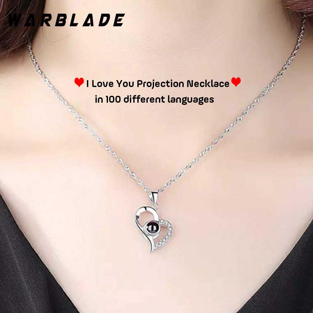 Kocham cię naszyjnik z inicjałami 100 język prezenty dla kobiet przyjaciele biżuteria akcesoria romantyczny numer wisiorki Femme Lover prezent