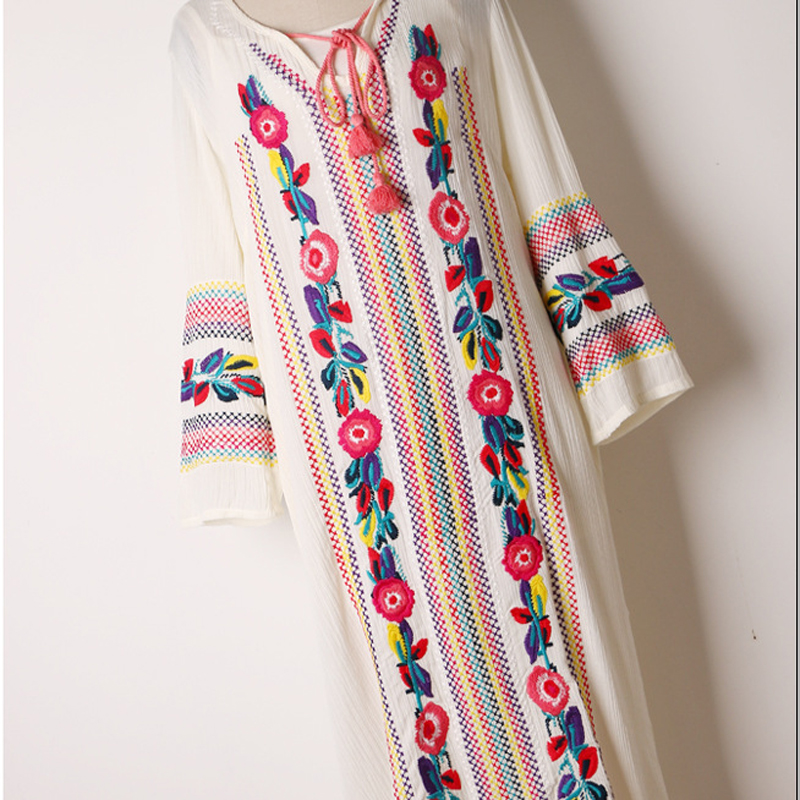 2017 fashion women dress bohemian flower embroidery rayon soft wide fit loose pattern leisure long dress white blue