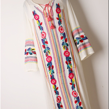 2017 fashion women dress bohemian flower embroidery rayon soft wide fit loose pattern leisure long dress white blue