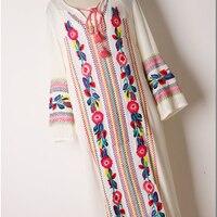 fashion women dress bohemian flower embroidery rayon soft wide fit loose pattern leisure long dress white blue