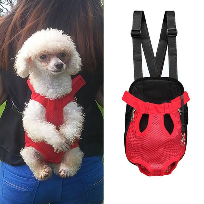 Pet Dog Carrier Front Chest Backpack Five Holes Backpack Dog Outdoor Carrier Tote Bag Sling Holder Mesh Cat Puppy Dog Carriers