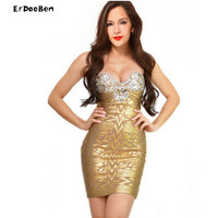 ERDAOBEN High quality Sexy strapless diamond bead bronzing bride toast bandage dresses for the party and clubDR531