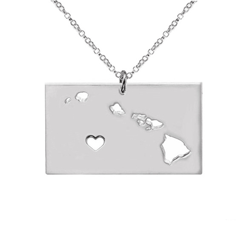 Hawaii Necklace 316 Stainless Steel American State With Hollow Heart Map Necklace Statement Pendant Jewelry 5PCS