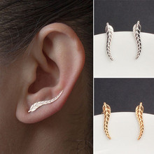EK931 New Fashion Vintage Gold Silver Plated Leaf Stud Earrings For Women Jewelry Brincos Feather Boucle