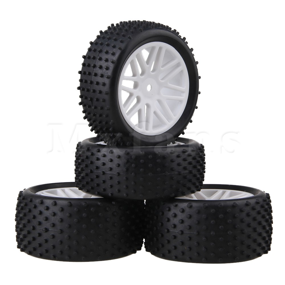 Mxfans 4Pcs RC 1:10 Buggy Rubber Car Tires Black and White Mesh Wheel Hub mxfans rc 1 10 2 2 crawler car inflatable tires black alloy beadlock pack of 4
