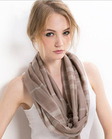 100%Cashmere Scarf Women Light Brown Tartan Wrap Thin Spring Summer Natural Fabric Extra Soft&Warm High Quality Free Shipping