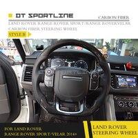 DT SPORTLINE Carbon Fiber Fibre Steering Wheel Cover For Land Rover Range Rover Sport Velar 2014+ Car Accessories Replacement