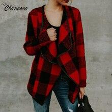 Осенне-зимний Кардиган, шерстяное пальто для женщин, красный, хаки, черный, белый, клетчатое пальто с длинным рукавом, Женское пальто, женская куртка, верхняя одежда