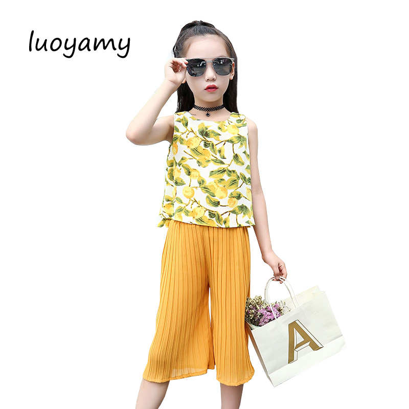 luoyamy 2017 Summer New Mango Printing Sleeveless Casual Baby Girl Clothes Calf-length Wide Leg Pants Sport Suit For Gilrs 2016 new summer baby sport suit 100