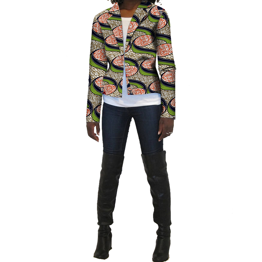 African Print Suit Jacket Africa Festive Ladies Long Sleeve Tailored Blazers Jacket For  ...