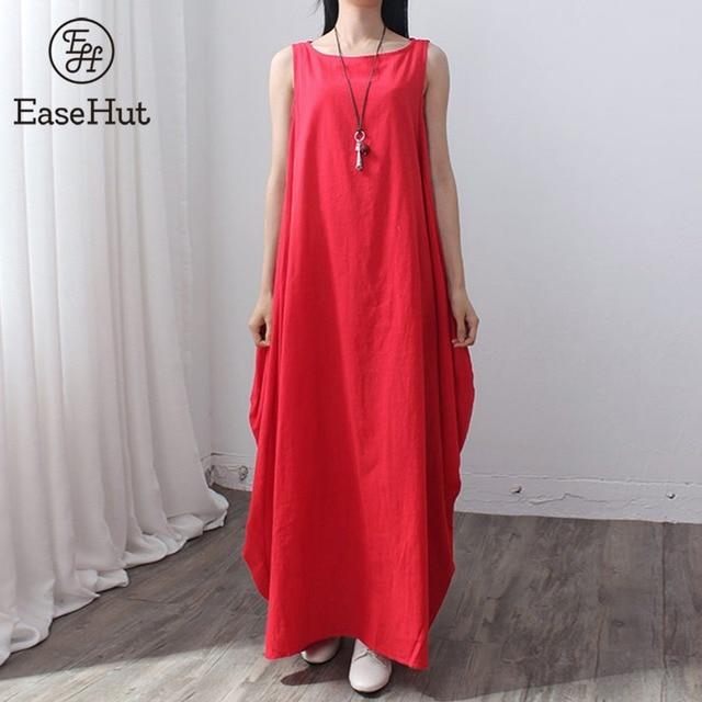 c089a04366c EaseHut 2019 Summer Women Maxi Sleeveless Tunic Dress Plus Size Pockets O  Neck Solid Loose Tank Baggy Dresses Vestidos Plus Size