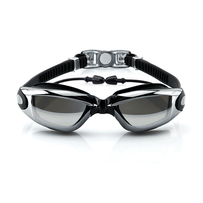 Hombres y mujeres gafas de natación anti-vaho profesional adulto tapón de silico
