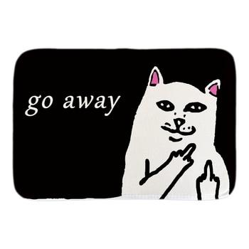 Felpudo de puerta divertido gato con dedo medio refrán gracioso y citas Felpudo de entrada para interiores exteriores felpudo corto alfombrilla de felpa