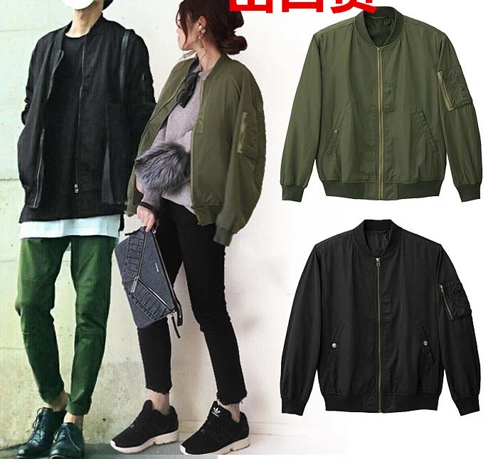 new 2018 couple's spring autumn fall short casual coat man woman jacket green black navy high quality streetwear clothing s m l
