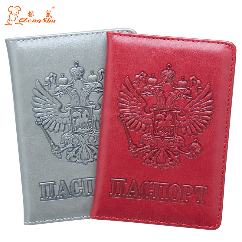 Coin Purses & Holders Usa Oil Red Embossing Double-headed Eagle Pu Leather Travel Passport Holder Built In Rfid Blocking Protect Personal Information
