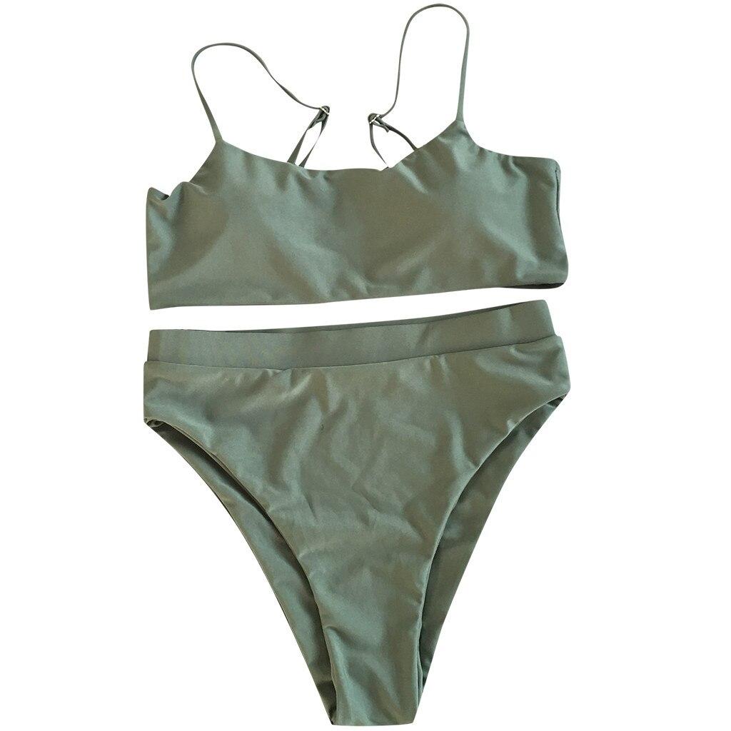 Сексуальный комплект бикини, женский купальник,, пуш-ап, с подкладкой, бандо, Бразильская пляжная одежда, бикини, купальник для женщин, пляжная одежда, купальный костюм - Цвет: Зеленый