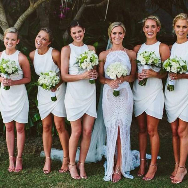 Short Cheap Beach Bridesmaid Dresses Zipper Back Pleat vestido de ...