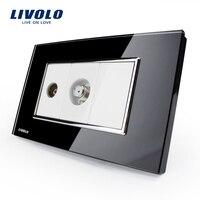 US AU Standard Livolo Luxur TV SATV Socket Black Crystal Glass Panel VL C391VST 82