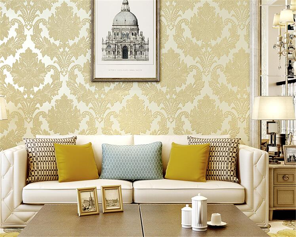 Beibehang 3d papier peint mode luxe en relief Continental damas papier peint chambre salon mur plein étage papier peint rouleau