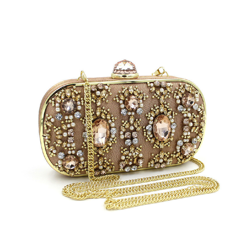 ФОТО Luxury Crystal Alloy Beaded Bags Day Clutch Women Wedding Purse Party Handbags Brown Vintage Clutches Small With Chain
