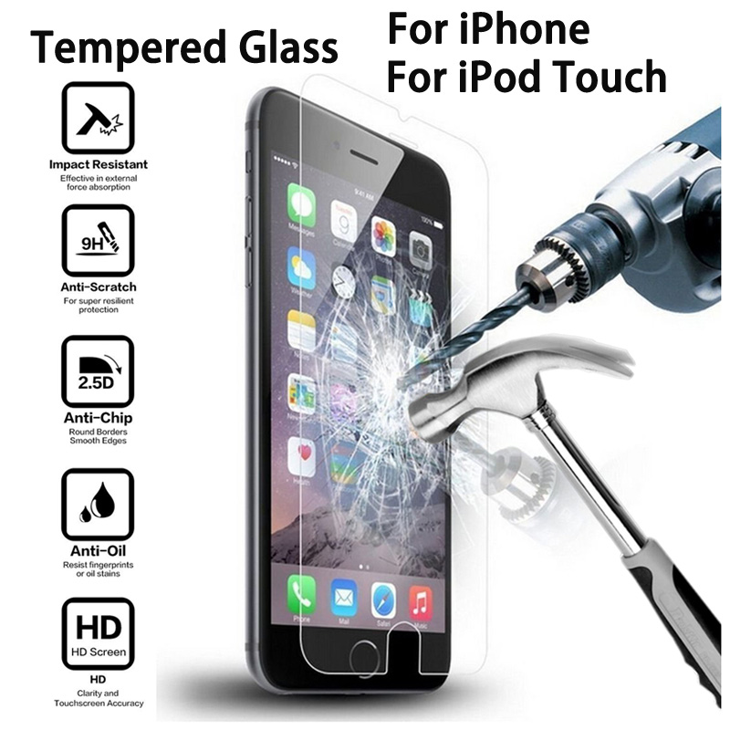 Screen Protector Tempered Glass for iPhone 7 6 6s Plus 5 5S SE 5C 8 Plus X XS MAX XR Toughened Glass Film For iPod Touch 6 5(China)