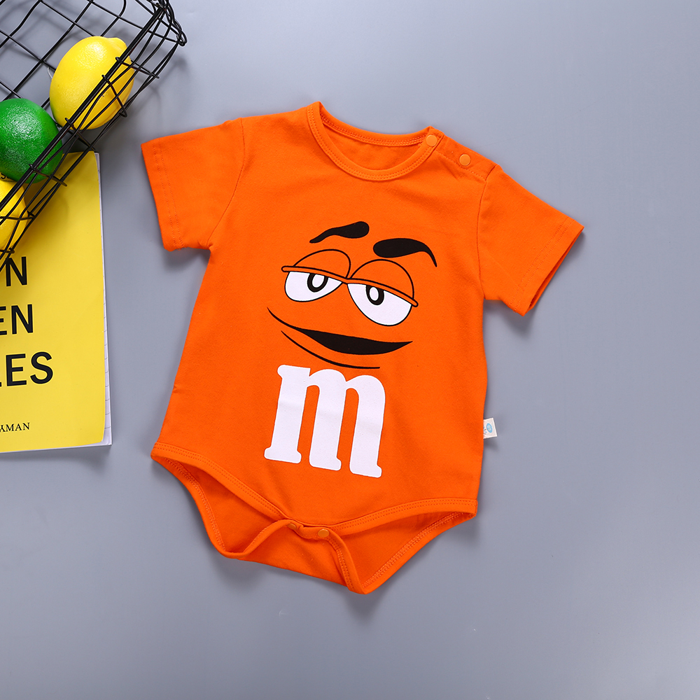 2019 New Boys And Girls Newborn Baby Clothing Cartoon Chocolate Beans Funny Print Short-sleeved Jumpsuit Smock