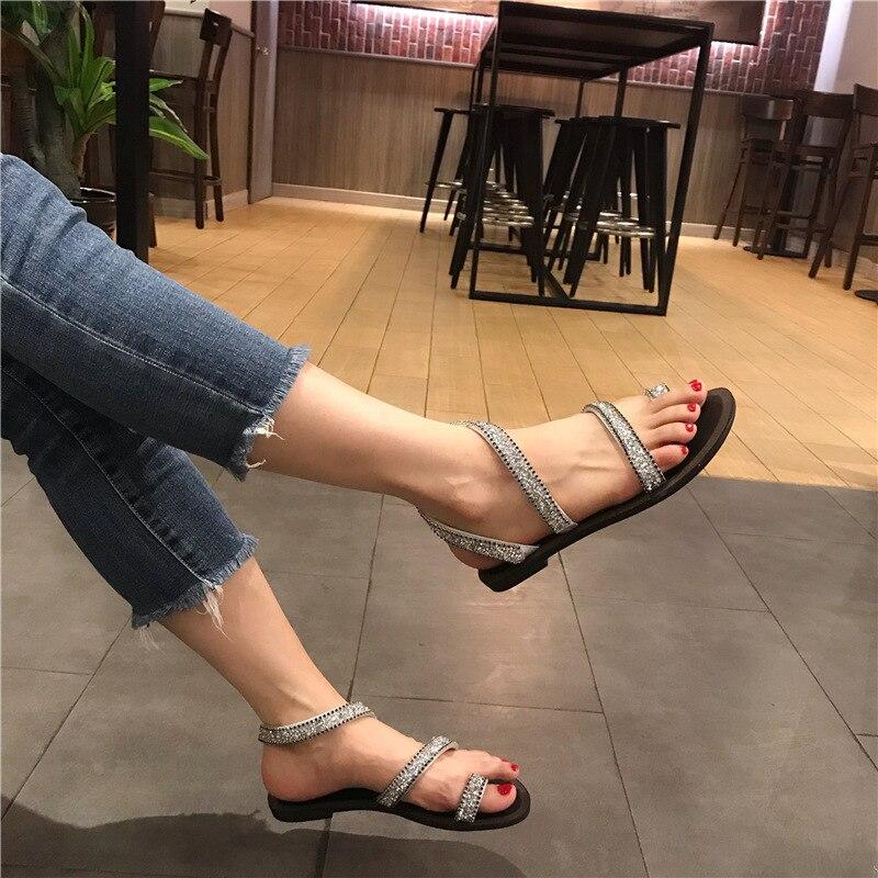 d68cd5d63d46 feminino clip studded roman toe flip ladies crystal beach gladiator women  ankle strap narrow flops sandals ...