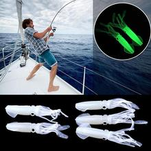 Octopus Squid Luminous Noctilucence Lures Bait Glow In The Dark Saltwater Hooks Crank Bait Minnow Soft Fishing Lures  P40 5 glow in dark plastic rubber fishing hook for squid octopus white 5 pcs