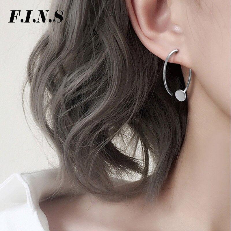06a027741823 Cheap F.I.N.S minimalista círculo C pendientes de aro 925 geometría de plata  grandes pendientes abiertos para