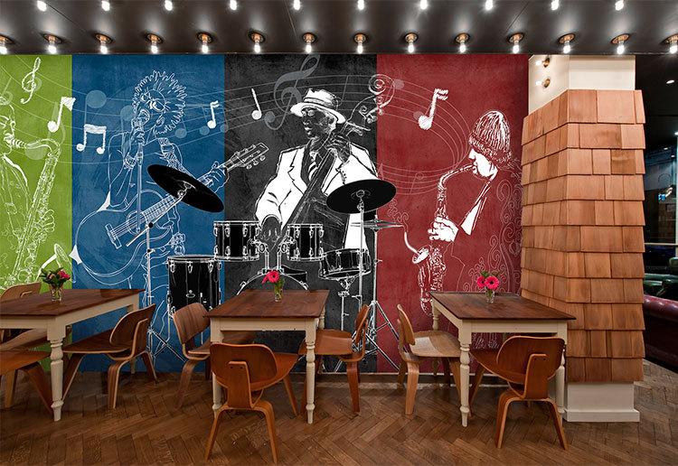 Lounge Abstract Art Green Wallpaper Postmodern Cartoon