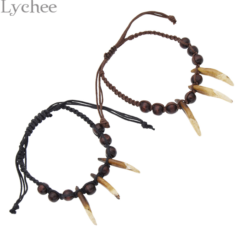Lychee Vintage Tibetan Teeth Bone Bracelet Unisex Handmade Charm Bracelets Fashion Ethnic Men Women Bracelet Gifts Crafts