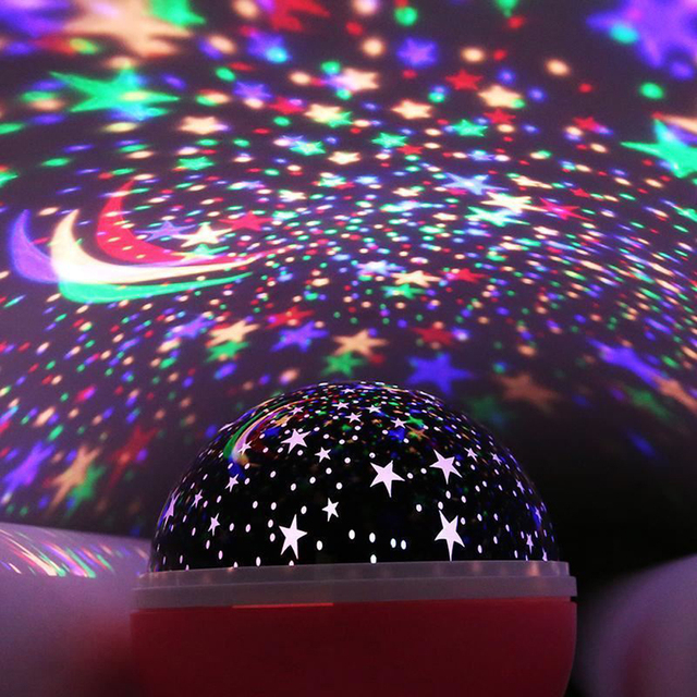 LED Rotating Star Projector Novelty Lighting Moon Sky Rotation Kids Baby Nursery Night Light Battery Or USB Port Operated