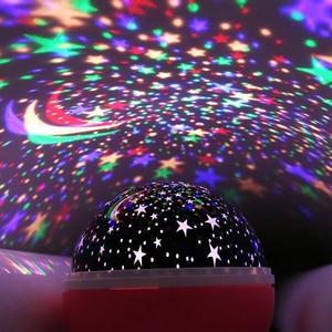 Image 1 - LED מסתובב כוכב מקרן חידוש תאורת ירח שמיים סיבוב ילדים תינוק משתלת לילה אור סוללה או יציאת USB מופעל
