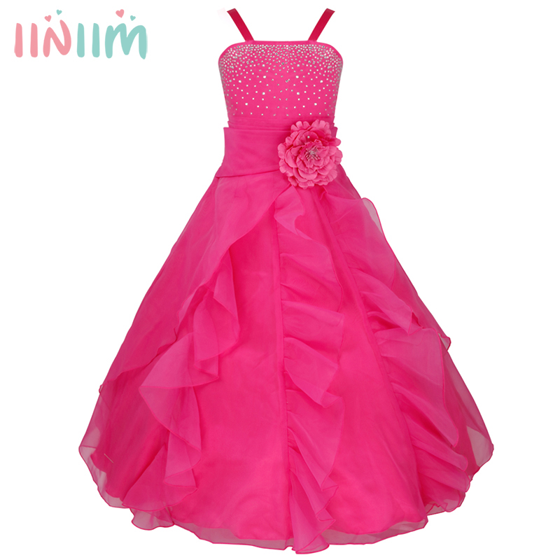 iiniim Girls Flower Bow Formal Dress Ball Gown Prom Princess Bridesmaid Wedding Children Teen Costume Tutu Birthday Party Dress цены онлайн