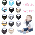 Ins hot!!! 2016 super cute baby bibs 4pcs/lot newborn infant feeding clothes cotton high quality baby Saliva towel accessories