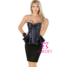 Sexy Satin Lace Up Overbust Skirted Corset Burlesque Long Line Corsets Corpete Peplum Gothic Bustier Women