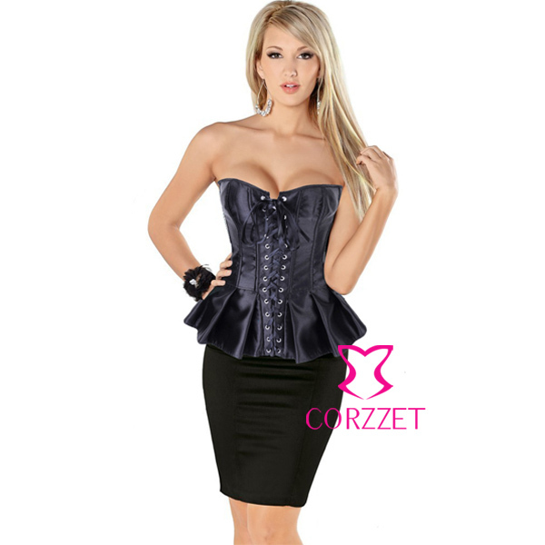 Sexy Satin Lace Up Overbust Skirted Corset Burlesque Long Line Corsets Corpete Peplum Gothic Bustier font