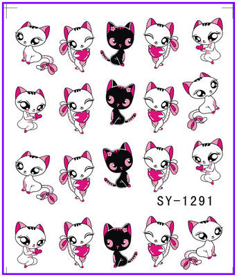 все цены на 1X  Nail Sticker Cartoon Miss Cat  Water Transfers Stickers Nail Decals Stickers Water Decal Opp Sleeve Packing SY1291 онлайн