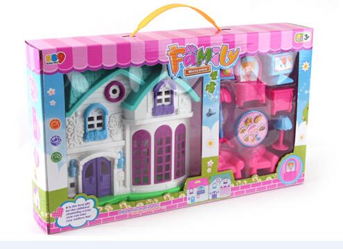 Bloco de Construção de brinquedo DIY casa de bonecas de plástico com miniaturas de móveis do bebê Brinquedos para as crianças