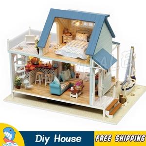 Миниатюрный Кукольный дом с видом на море Вилла пляжная лодка Сделай Сам светодиодный светильник кукольная мебель взрослые игрушки для под...