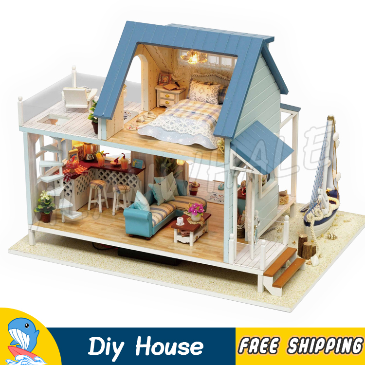 Miniature Doll House Sea View Villa Beach Boat DIY LED Light Dollhouse Furnitures Adult Teenager Toys Figure Building Gifts Sets